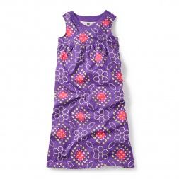 Purple Bandhani Wrap Neck Maxi Dress for Girls | Tea Collection