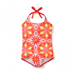 Red Anshula Halter One-Piece Swimsuit for Girls | Tea Collection