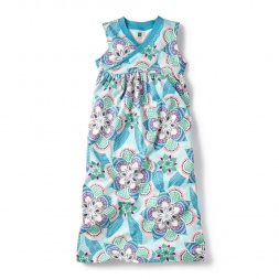 Blue Kalinda Wrap Neck Maxi Dress for Little Girls | Tea Collection