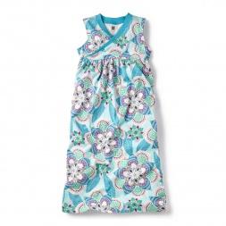 Blue Kalinda Wrap Neck Maxi Dress for Little Girls | Tea Collection
