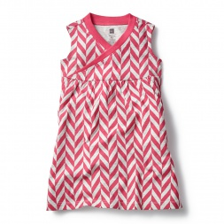 Pink Coastal Chevron Wrap Neck Mini Dress for Girls | Tea Collection