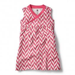 Pink Coastal Chevron Wrap Neck Mini Dress for Girls | Tea Collection