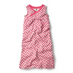 Pink Sleeveless Coastal Chevron Wrap Neck Maxi Dress for Little Girls | Tea Collection