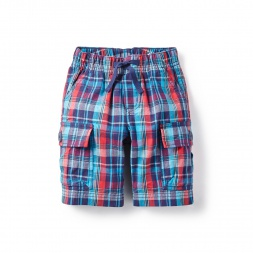 Prasham Plaid Cargo Shorts for Little Boys | Tea Collection