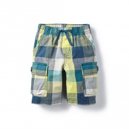 Yellow Kanak Plaid Cargo Shorts for Boys | Tea Collection