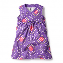 Purple Bandhani Wrap Neck Mini Dress for Little Girls | Tea Collection