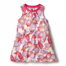 White & Pink Kalinda Trapeze Dress for Girls | Tea Collection