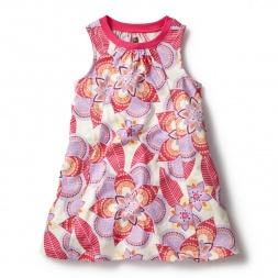 White & Pink Kalinda Trapeze Dress for Girls | Tea Collection