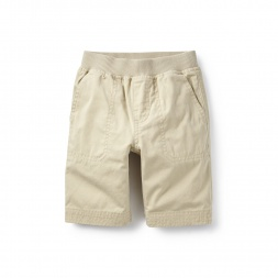 Khaki Canvas Patch Pocket Shorts for Boys | Tea Collection