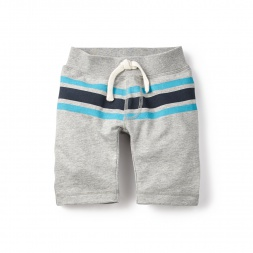 Khaki & Navy Striped French Terry Shorts for Boys | Tea Collection