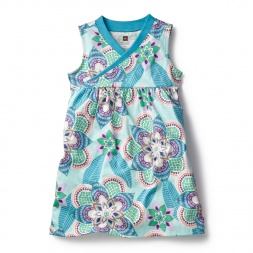 Blue Kalinda Wrap Neck Mini Dress for Girls | Tea Collection