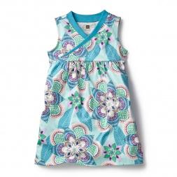 Blue Kalinda Wrap Neck Mini Dress for Girls | Tea Collection
