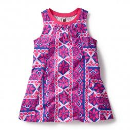Pink Sleeveless Parasol Trapeze Dress for Little Girls | Tea Collection