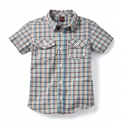 Gray Vishnu Plaid Beach Shirt for Boys | Tea Collection