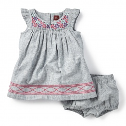 Bishaka Embroidered Chambray Dress for Baby Girls | Tea Collection
