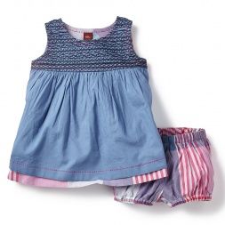 Blue Patna Reversible Baby Dress for Girls | Tea Collection