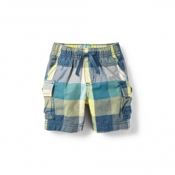 Plaid Yellow Kanak Baby Cargo Shorts for Baby Boys | Tea Collection
