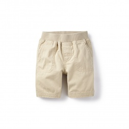 Khaki Canvas Patch Pocket Baby Shorts for Baby Boys | Tea Collection