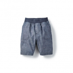 Chambray Patch Pocket Baby Shorts for Boys | Tea Collection