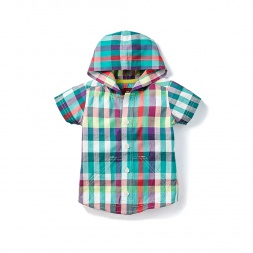 Plaid Varuna Button Baby Hoodie for Baby Boys | Tea Collection