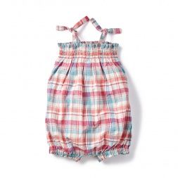 Pink Plaid Paavai Shoulder-Tie Romper for Babies | Tea Collection