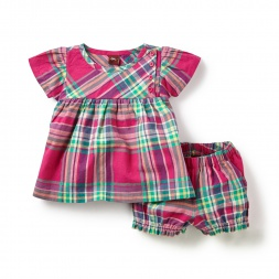 Pink Lucknow Plaid Baby Outfit for Girls | Tea Collection