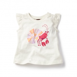 White Kerala Crab Graphic Tee for Baby Girls | Tea Collection