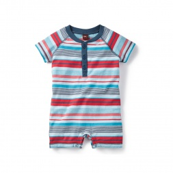 Manori Striped Henley Romper for Baby Boys | Tea Collection