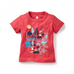 Red Madras Coast Graphic Tee Shirt for Baby Boys | Tea Collection