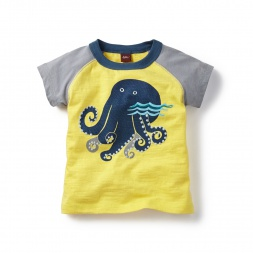 Yellow Octopus Graphic Tee Shirt for Baby Boys | Tea Collection