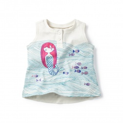 Blue Mermaid Matsyanari Graphic Tank Top for Baby Girls | Tea Collection
