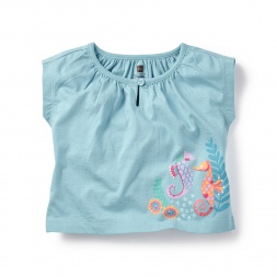 Blue Sweet Seahorses Graphic Tee Shirt for Baby Girls | Tea Collection