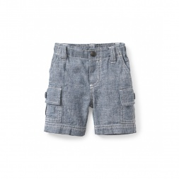 Chambray Baby Cargo Shorts | Tea Collection