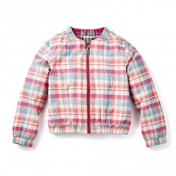 Plaid Kohima Reversible Bomber Jacket for Girls | Tea Collection