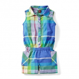 Plaid Chennai Button-Up Romper for Girls | Tea Collection