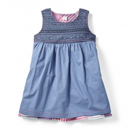 Blue Patna Reversible Dress for Girls | Tea Collection