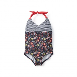 Coastal Flowers Kyhle Halter One-Piece Swimsuit for Girls | Tea Collection