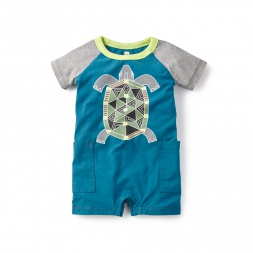 Mithila Turtle Graphic Romper for Baby Boys | Tea Collection
