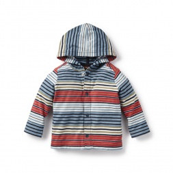 Seafarer Stripe Snap Hoodie for Baby Boys | Tea Collection