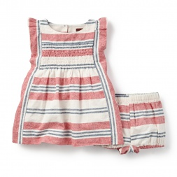 Horizon Stripe Baby Flutter Dress for Girls | Tea Collection