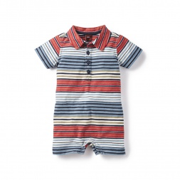 Baby Boys Seafarer Stripe Polo Romper | Tea Collection