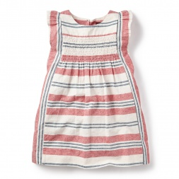 Little Girls Horizon Stripe Flutter Dress | Tea Collection