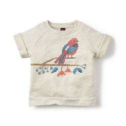 White Tanager Cross Stitch Sweatshirt for Girls | Tea Collection