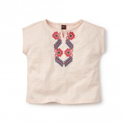 Pink Embroidered Notch Neck Top for Little Girls | Tea Collection