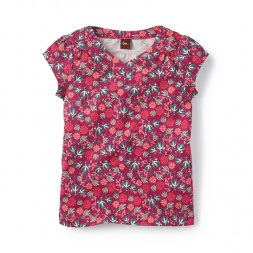 Lucia Floral Vneck Top for Little Girls | Tea Collection