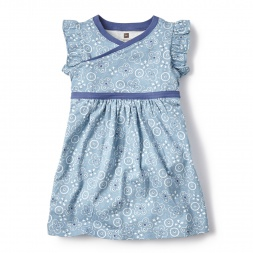 Blue Bandana Print Wrap Neck Dress for Little Girls | Tea Collection