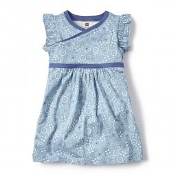 Blue Bandana Print Wrap Neck Dress for Little Girls | Tea Collection