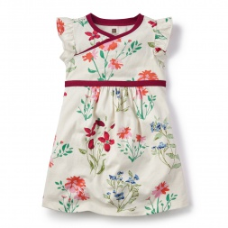 Flores Pintadas Wrap Neck Dress for Little Girls | Tea Collection