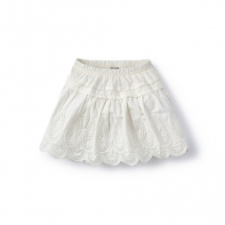 White Pollera Eyelet Skirt for Little Girls | Tea Collection