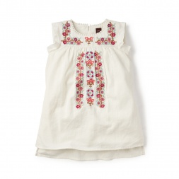 White Rosario Cross Stitch Dress for Little Girls | Tea Collection